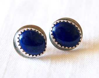 Lapis Studs Earrings Vintage Sterling Silver Oval Posts Stud Cobalt Blue Everyday Jewelry Signed Jenn