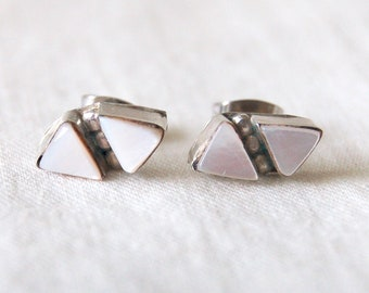 Triangle Stud Earrings Vintage Southwestern Mother of Pearl Posts Sterling Silver White Geometric Diamond Studs