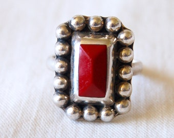 Mexican Jasper Ring Size 8 .5 Vintage Oxblood Red Stone Sterling Silver Boho Statement Jewelry