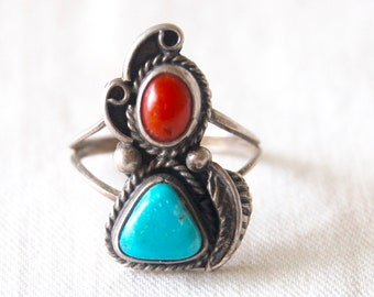 Turquoise Red Coral Ring Size 5 .75 Vintage Sterling Silver Double Stone Southwestern Boho Jewelry