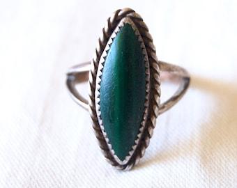 Malachite Marquise Ring Size 6 .25 Vintage Southwestern Green Stone Sterling Silver Jewelry Modern Boho