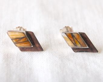Southwestern Studs Post Earrings Vintage Dolamite and Sterling Silver Diamond Posts Studs Desert Sunset