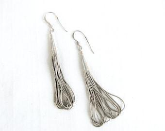 Liquid Silver Beaded Earrings Dangles Artisan Made Vintage Native American 10 Strand Southwestern Dangle