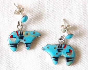 Vintage Zuni Bear Fetish Earrings Sun Face Turquoise Bears Native American Animal Spirit Jewelry Modernist Folk Art