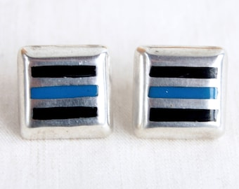 Vintage Mexican Earrings Square Post Studs Vintage Sterling Silver Black Blue Resin Posts Modern Earrings Made in Mexico