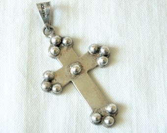 Large Mexican Cross Pendant Ornate Sterling Silver Vintage Southwestern Necklace Joy Mex Plata