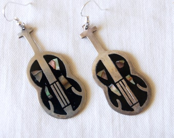 Vintage Guitar Earrings Mexican Alpaca Abalone Black Resin Instrument Mariachi Folk Music from Mexico