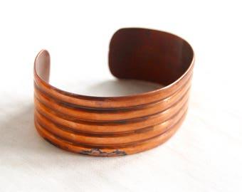 Copper Cuff Bracelet Wide Vintage Southwestern Modern Boho Jewelry Size Medium Small 6 .25 Inch Gift under 15