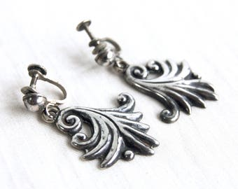 Antique Mexican Earrings Art Nouveau Leaves Sterling Silver Fronds Dangles Colonial Style Screw Back Dangle Screwback