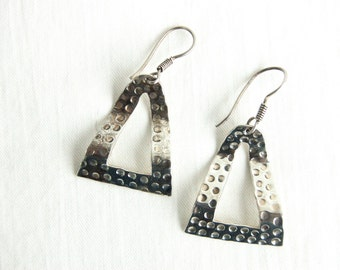 Triangle Dangle Earrings Sterling Silver Rivets Vintage Mexican Textured Dangles Modern Taxco Mexico  Jewelry
