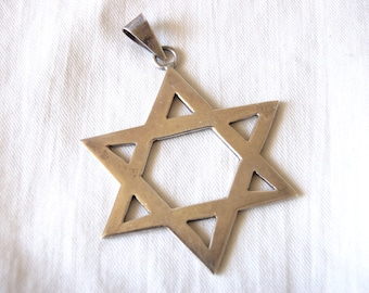 Mexican Star of David Large Sterling Silver Pendant Vintage Religious Finding Made in Mexico Jewish Jewelry