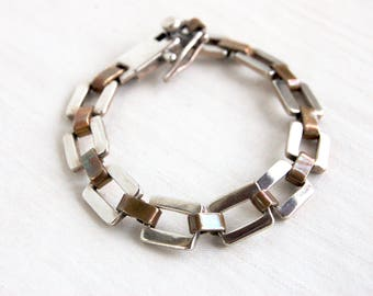 """Mixed Metal Chain Link Bracelet 7 1/2"""" Inch Vintage Square Links Sterling Silver and Brass Unisex Jewelry Size Medium Modern"""