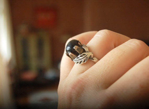 Vintage Artist Signed Sterling Silver Black Onyx Statement Solitaire Ring Southwestern Gothic Boho