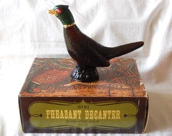 Avon Cologne Bottle Vintage Pheasant Decanter in Original Box Glass Bird Gift for Him