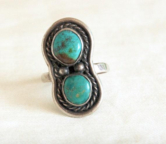 Turquoise Ring Size 7 Southwestern Double Stone Je