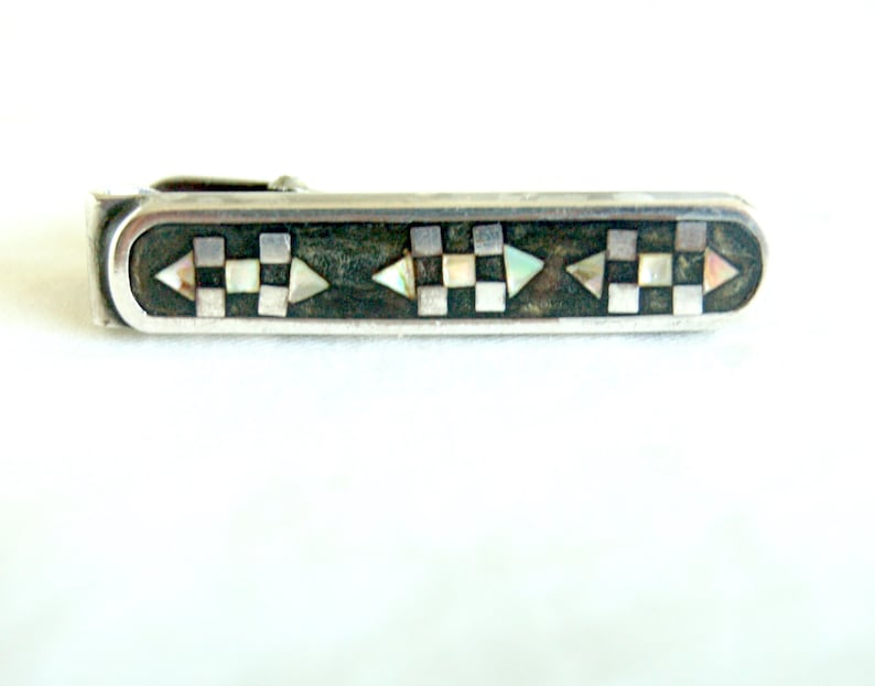 Mexican Tie Clip Vintage Sterling Silver Mother of Pearl Mens Suiting Geometric Design Old Mexico Unisex Jewelry