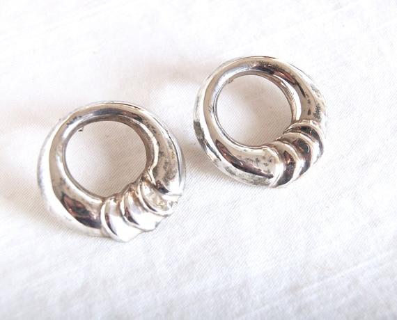 Vintage Sterling Silver Modernist Hoop Earrings