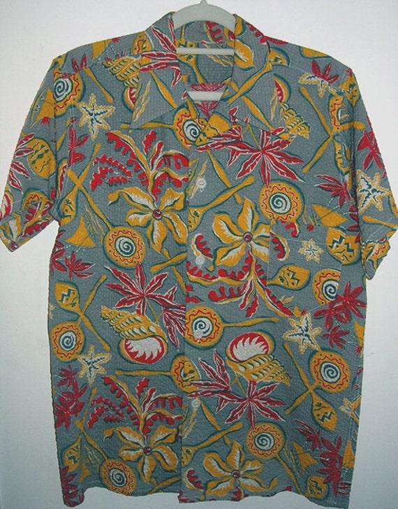 Closeout Sale Vintage Hawaiian Shirt seersucker
