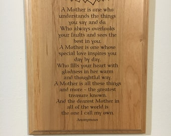 A Mother 8x10 Adler Wood Plaque
