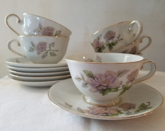 Vintage set of 6 cups and saucers Seyei fine china Peony pattern