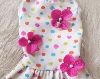 Confetti Floral Tank Dress   Polka Dot Dog Dress   Spandex Pet Dress   Spring Dog Clothes   Summer Wear   Summer Dog Dress - RLD72