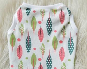 Feather Printed Dog Tank   Beach Tank Top   Summer T-shirt   Dog Shirt   Spring Dog Clothes   Pet Clothes   Summer Dog Clothes - RLT180