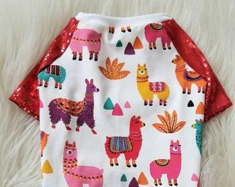Baby Alpaca Red Sequin Sleeve Dog Tee   Animal Shirt   Cotton Dog Tee   Spring Dog Clothes   Summer Clothes   Summer Dog Shirt - RLT176