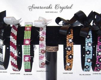Trendy Posh Swarovski Crystal Bling Dog collars. Designs in 7 sizes