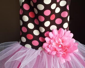 Fashion Tutu Dog Dress - Pink Dot Spandex