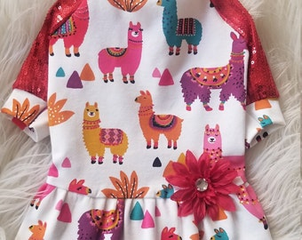 Baby Alpaca Red Sequin Sleeve Dog Dress   Animal Print Dress   Cotton Dress   Spring Dog Clothes   Summer Dresses   Dog Dress - RLD68