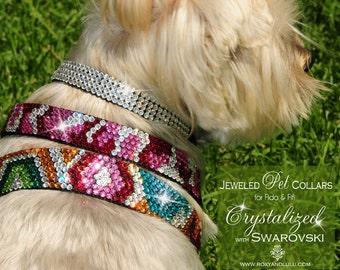 Urban Jungle Swarovski Crystal Bling Dog collars. Designs in 7 sizes.