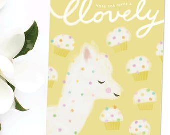 Sprinkled Llama - One Folded Greeting Card with Matching Envelope