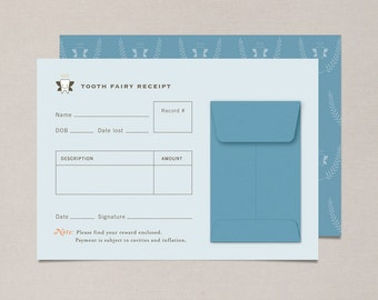 Blue Tooth Fairy Receipts - Set of 10