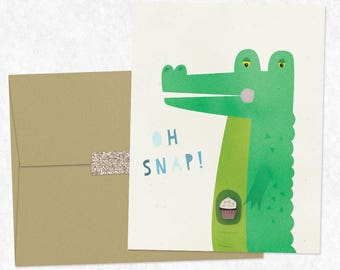 Oh Snap - One Folded Greeting Card with Matching Envelope & Seal