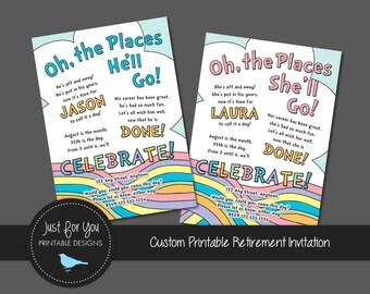 Retirement Farewell Goodbye Good-Bye Party Invitation - Pastel Rainbow - Custom Printable Invitation Invite - YOU PRINT (Digital File)