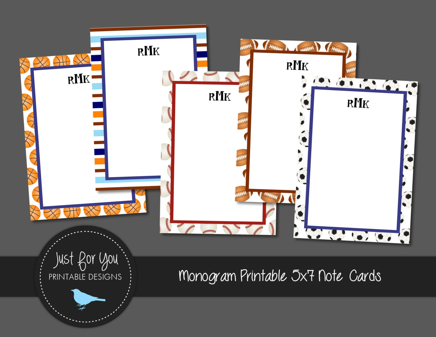 sports themed printable stationary note cards with monogram 5x7