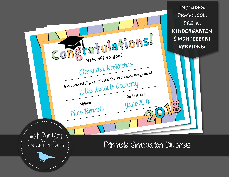 pastel rainbow graduation certificate diploma 2018 etsy