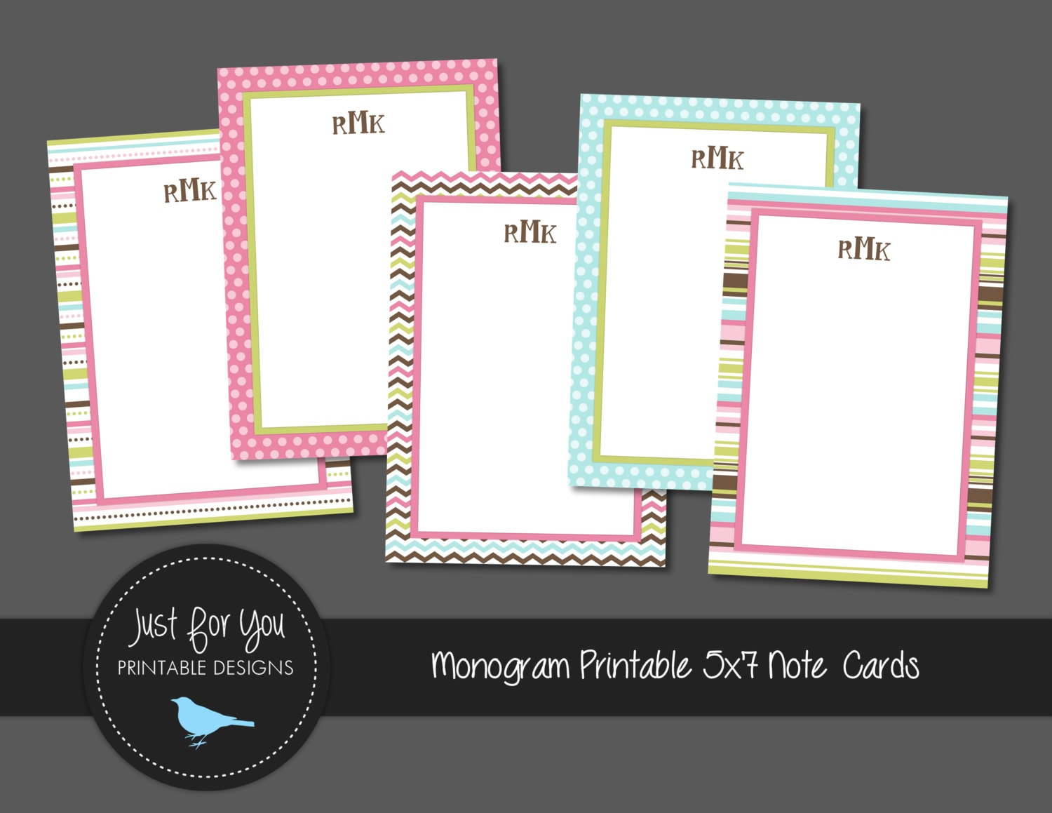 printable stationary note cards for girls with monogram 5x7