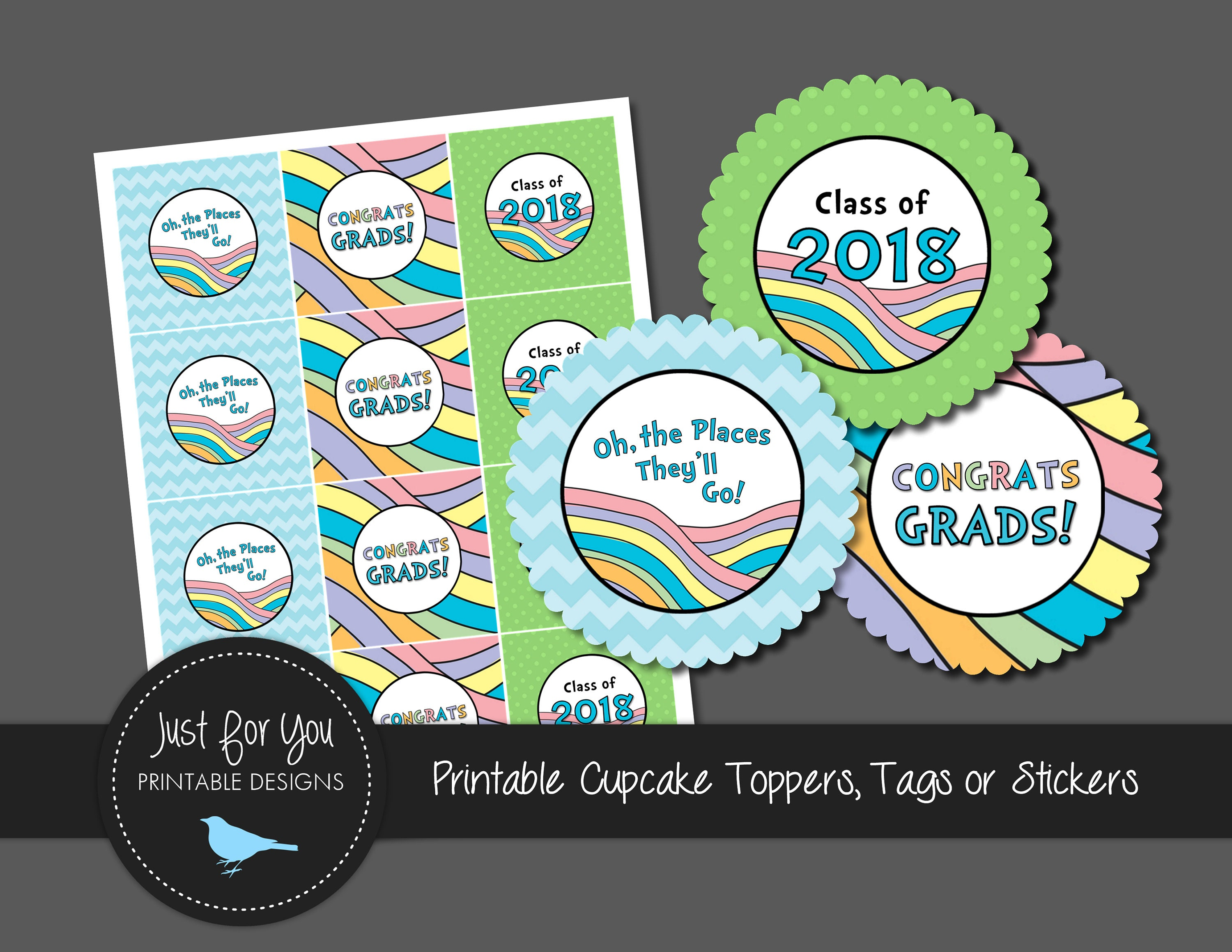 Pastel Rainbow Graduation - Cupcake Toppers / Square Tags / Stickers ...