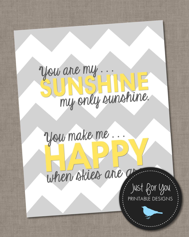 You Are My Sunshine Wall Art - Yellow and Gray Grey Chevron - 8x10 ...