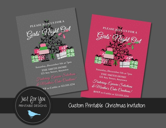 Christmas Girls Night Out Invitation Home Party Social Demo Etsy