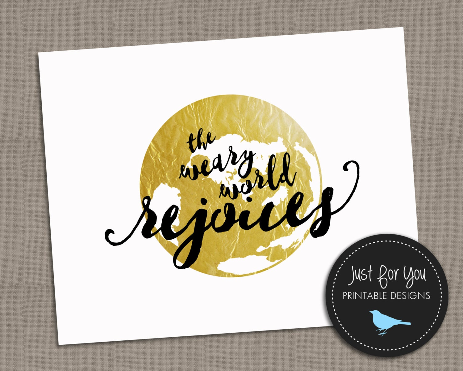 Christmas Printable Wall Art - The Weary World Rejoices - Holiday ...