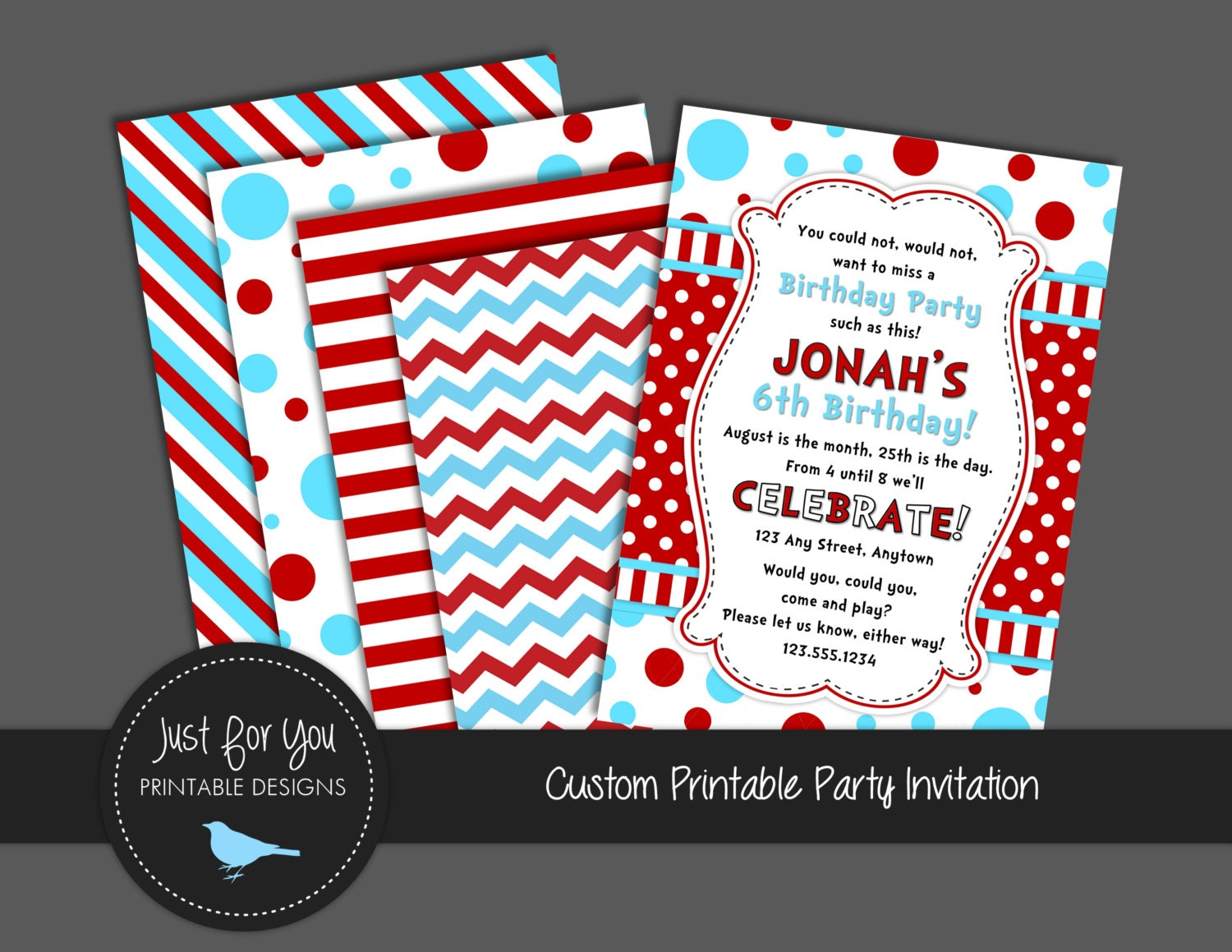 Printable birthday invitation red white and blue polka dots printable birthday invitation red white and blue polka dots chevron stripes custom party printables children kids you print filmwisefo