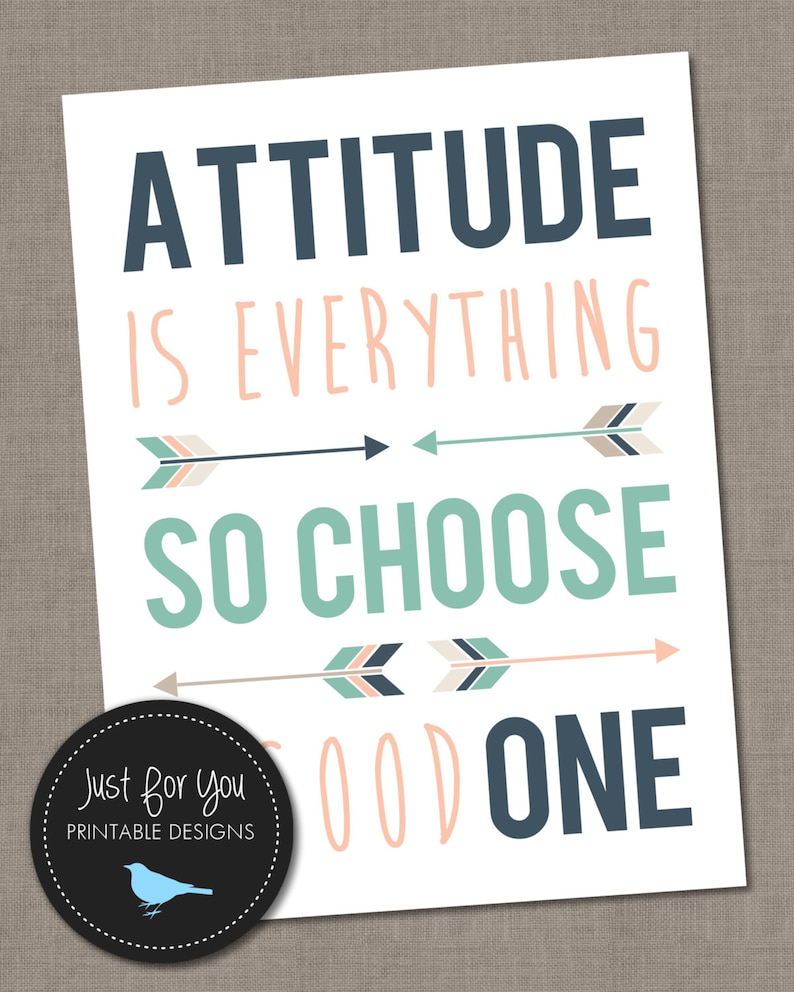 Attitude Is Everything So Choose A Good One Quote Arrows Etsy