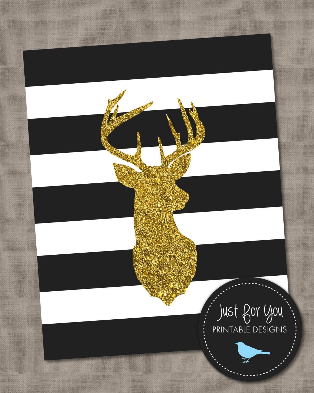 Christmas Printable Wall Art - Christmas Glam Gold Glitter Deer ...
