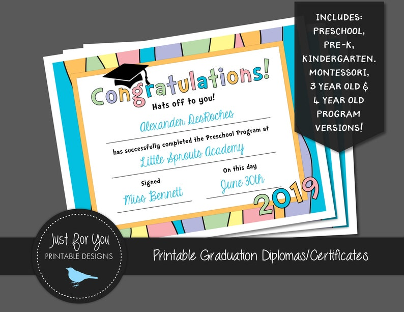 photograph regarding Pre Kindergarten Diploma Printable known as Pastel Rainbow Commencement Certification Degree 2019 - Kindergarten, Preschool, Pre-K, Pre-Kindergarten, Montessori - Your self PRINT - Printable