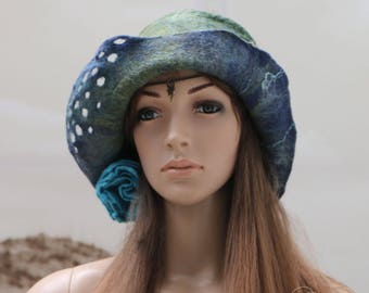 "Winter Hat woman blue and green craft felt and silk ""autumn very sentimental..."""