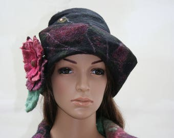 """Winter Hat woman black, green, wine """"Once upon a time..."""""""