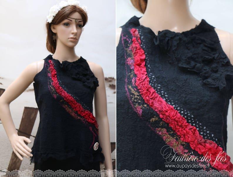 Top femme soie et feutre noir rose Le drap\u00e9 de Cerise... rouge