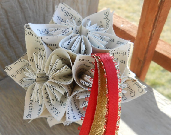 BOOK Kusudama Ball.  Upcycled Origami. Wedding Decor, Gift, Home, Unique.